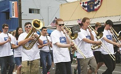 PEGGY SAVAGE - The Molalla High School Marching Band, seen here in the 2016 Fourth of July Parade in Molalla, will benefit from the fundraising Adult Band Festival held Saturday at Molalla High School.