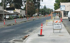 MOLALLA PIONEER FILE PHOTO - A six-block long construction project on downtown Molalla Avenue has been underway since March of 2016, and is still not completed as of March 2017
