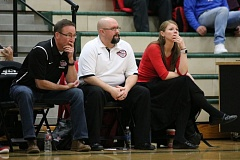 REVIEW/NEWS PHOTO: JIM BESEDA - Todd Lane (center), flanked by assistants Mike Reiner (left) and Korey Landolt, stepped down as Clackamas High School's girls' basketball coach after eight seasons with the program, including six as head coach.