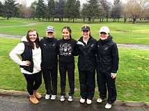 PHOTO CREDIT: JOE GIRRES - From left, Indians senior Ali Jacobson, juniors Morgan Hall, Christine Becker and Kaitlyn Bakkensen and senior Alex Toman played to second with a 469 behind Class 5A Pendleton in the season opener on Tuesday at The Dalles Country Club.