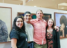 CONTRIBUTED - Students Lesley Lopez Armenta, Nathan Naovaransy, artist-in-residence Benjamin Clark and student Bailey Cooper take in the 12th-annual Reynolds art show and auction.