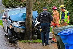 DAVID F. ASHTON - Firefighter-paramedics from nearby Station 20 freed the female driver, trapped in the Ford Expedition, after it drifted off Bybee Boulevard and smashed hard into a surprisingly sturdy utility pole.