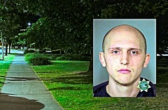 DAVID F. ASHTON; MCDC BOOKING PHOTO - It was on this sidewalk - across from the Eastmoreland Golf Course Clubhouse - where the mugger grabbed and tried to kidnap a woman last June. Arrested on March 16 of this year was 27-year-old David Abraham Marcus (inset), on two felony charges, in connection with the incident.