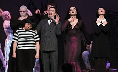 PMG PHOTO: MILES VANCE - Southridge High School's production of 'The Addams Family. A New Musical Comedy' included (from left) Devon Farmer as Fester, Sarah Park as Pugsley, Jakob Schwab as Lurch, Nathan Parrott as Gomez, Morgan Fredericks as Morticia and Lorna Baxter as Wednesday. The play concluded its run on Saturday at Southridge.