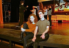 DAVID F. ASHTON - Cleveland High School student playwright and director of Acting Out Shayla Bailey spends a moment with co-director Sawyer Jackson while the cast rehearses for this original, unique, improvised play.
