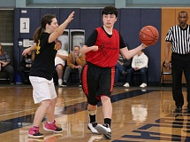 REVIEW/NEWS PHOTO: JIM BESEDA - Sophomore Sam Lary helped lead push to get a Unified Sports basketball program up and running at Oregon City High School.