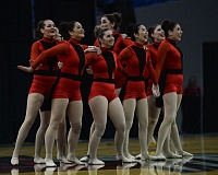 OUTLOOK PHOTO: JOSH KULLA - The Barlow Bruinettes close out their routine during the preliminaries of the 2017 OSAA State Dance and Drill championships last Thursday at Veterans Memorial Coliseum in Portland.