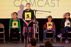 PAMPLIN MEDIA GROUP PHOTO: JAIME VALDEZ - Boones Ferry fifth-grader Talia Valdez said cacophony was the hardest word she had to spell Saturday, March 18.