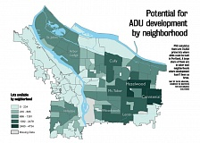 COURTESY OF PSU  - There's more than 70,000 potential lots to put ADUs in Portland.