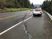 ODOT - Shifting ground on Mulino Hill is causing this large crack across Highway 213 between Union Hall Road and Mulino