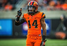 COURTESY: BETH BUGLIONE - Cornerback Treston Decoud is the most likely player from Oregon State to be drafted into the NFL this season.