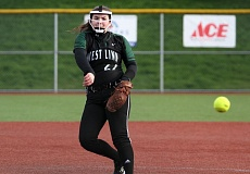 TIDINGS PHOTO: MILES VANCE - West Linn pitcher Alexis Finke releases a pitch in the first inning of her team's 3-2 loss to Grant at Rosemont Ridge Middle School  on Tuesday.