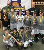 SUBMITTED PHOTO - The West Linn fifth-grade boys Select team that won the state title in March included: back row (left to right) coaches Mike Juhala and Kevin VandenBrink, middle row Wiley Donnerberg, Gabe Howard, Max Juhala, Ryan VandenBrink, Blake Crawford and Nick Sakys, and front row  Mitchell Rowe, Keyan Fernando, Jake Malvar and Ethan Simshauser.