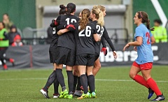 COURTESY: CRAIG MITCHELLDYER - The Portland Thorns celebrate after Nadia Nadim's first-half penalty kick Sunday night at Providence Park.