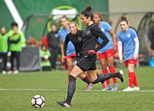 COURTESY: CRAIG MITCHELLDYER - Nadia Nadim of the Portland Thorns puts home a penalty kick during the first half Sunday at Providence Park.