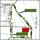 COURTESY OF WASHINGTON COUNTY - A map shows where Morgan Road will be closed at Tonquin Road outside Sherwood and how traffic will be detoured next weekend.