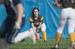 OUTLOOK PHOTO: JOSH KULLA - Barlow outfielder Timber Swindell fields another Canby base hit Monday, as the Bruins fell to the visiting Cougars 10-1 in non-league prep softball.