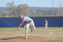 WILL DENNER/MADRAS PIONEER - Senior left-handed pitcher Aaron Winishut, above, made his season debut Friday as the Buffs' starting pitcher against Pleasant Hill, striking out three and gving up one run across 3.1 innings.