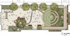 COURTESY GRAPHICS: SCOTT-EDWARDS ARCHITECTURE - The upgraded plans for the courtyard will make it 5,000 square feet with an amphitheater, art features and tables and chairs that can be moved aside when necessary.