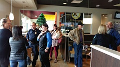 NEWS-TIMES PHOTO: STEPHANIE HAUGEN - Forest Grove Police Department officers offered McDonald patrons free coffee and their time at the quarterly Coffee with a Cop event Wednesday.