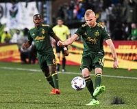 TRIBUNE PHOTO - Vytas (right) has trained all week and looks ready for this weekend's Portland Timbers game at Philadelphia, but will coach Caleb Porter give the starting job back to him?