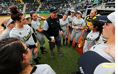 COURTESY: ERIC EVANS - Coach Mike White's Oregon Ducks won their first 35 games of 2017, and are chasing Arizona for their fifth consecutive Pac-12 title.