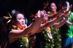 NEWS-TIMES PHOTOS: CHRISTOPHER OERTELL - Dancers perform Waikahuli — Wahine Auana, which compares Hawaiians to beautiful blossoms that travel to the islands from far away.