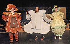 SPOKESMAN PHOTOS: VERN UYETAKE - From left, Chance Kirk as Cogsworth, Nathalia Nicolade as The Wardrobe and Peyton Henry as Mrs. Potts.